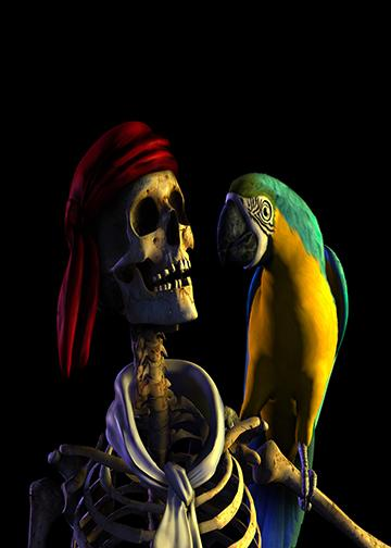 Gasparilla Pirate with Parrot