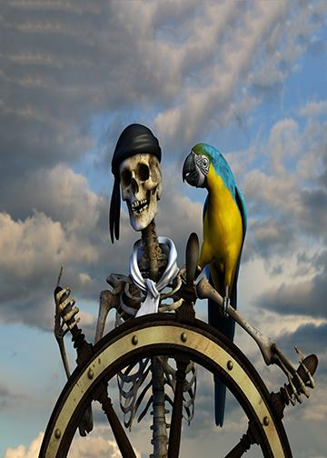Skeleton Pirate with Parrot