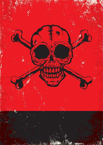 Red Skull and Crossbones, Door Cover - Door Decoration