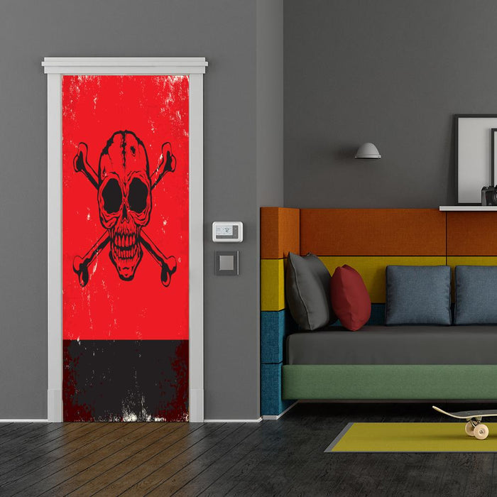 Red Skull and Crossbones Door Decor