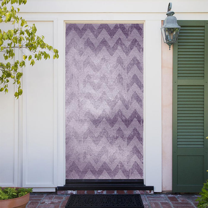 Purple ZigZag Background Door Cover