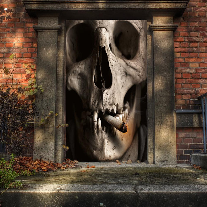 Large Smoking Skull Door Cover