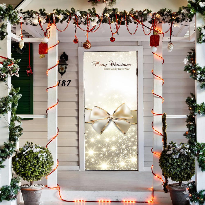 Golden Bow Christmas Door Cover