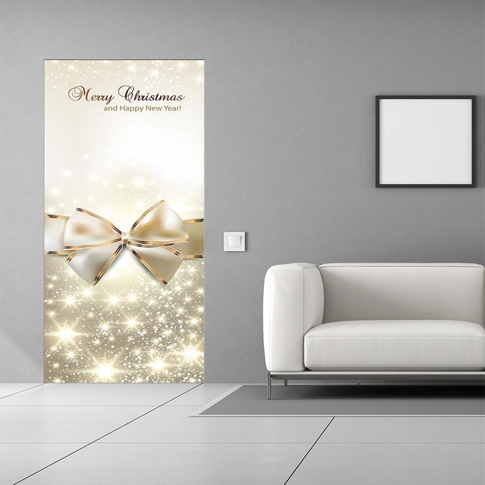 Golden Bow Christmas Door Decor