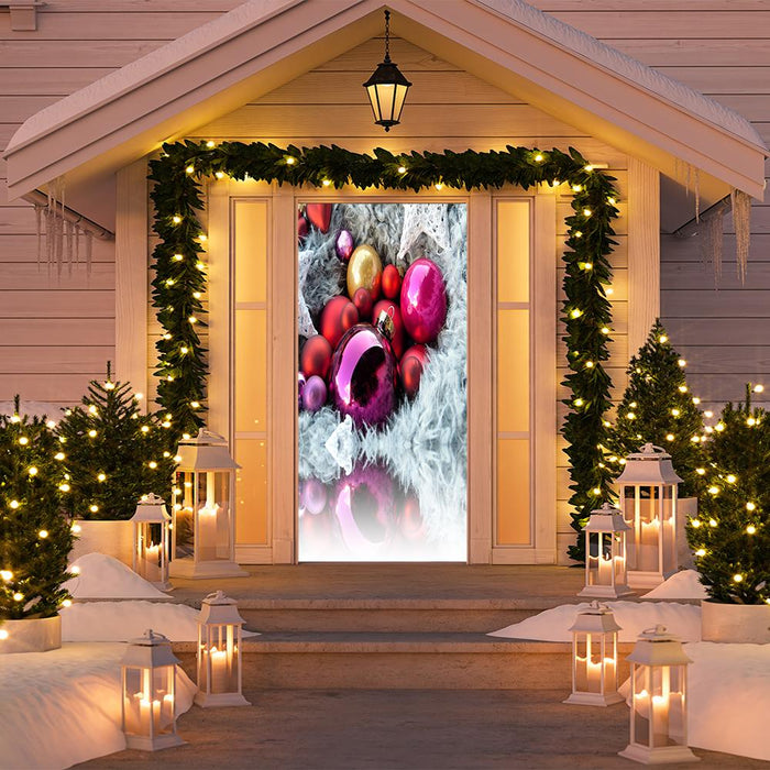 Colorful Christmas Ornaments Door Decor
