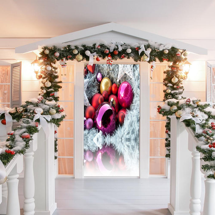 Colorful Christmas Ornaments Door Cover