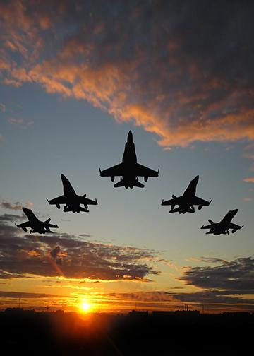 Fighter Jets at Sunset
