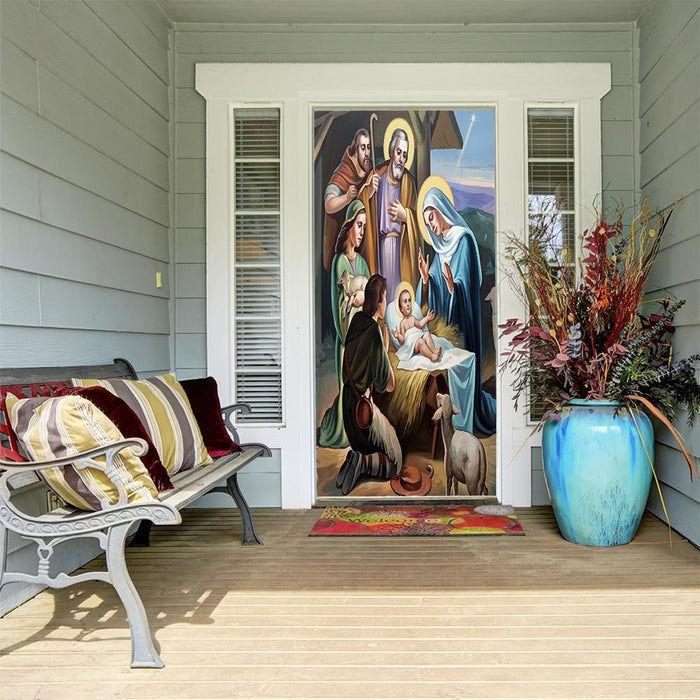 Nativity Scene Fabric Door Cover