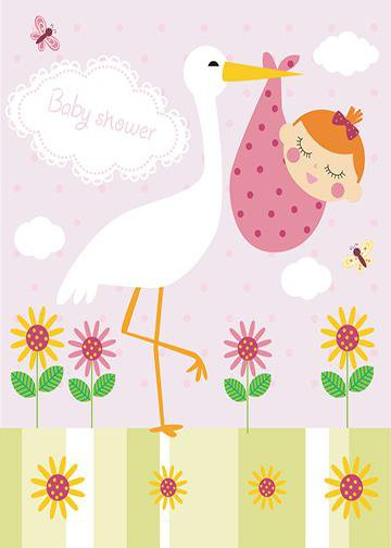 Stork Holding Baby Girl, DoorWrap - Door Decoration