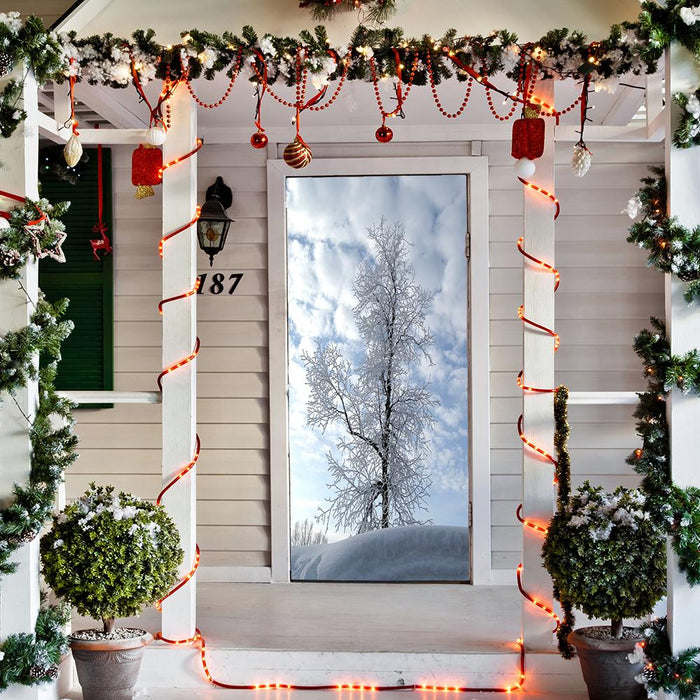 Snow Christmas Tree door decor