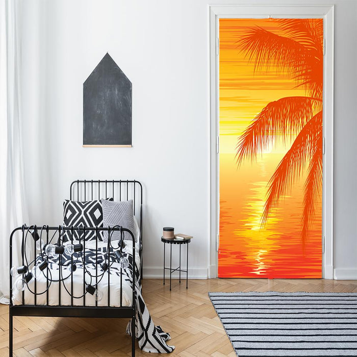 Palm Tree on Beach Door Cover