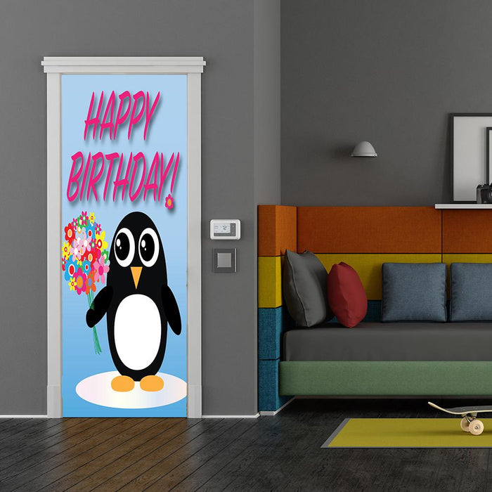 Happy Birthday Penguin with Balloons