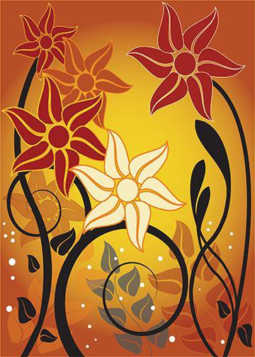 Fall Floral Sunset, Door Cover - Door Decoration