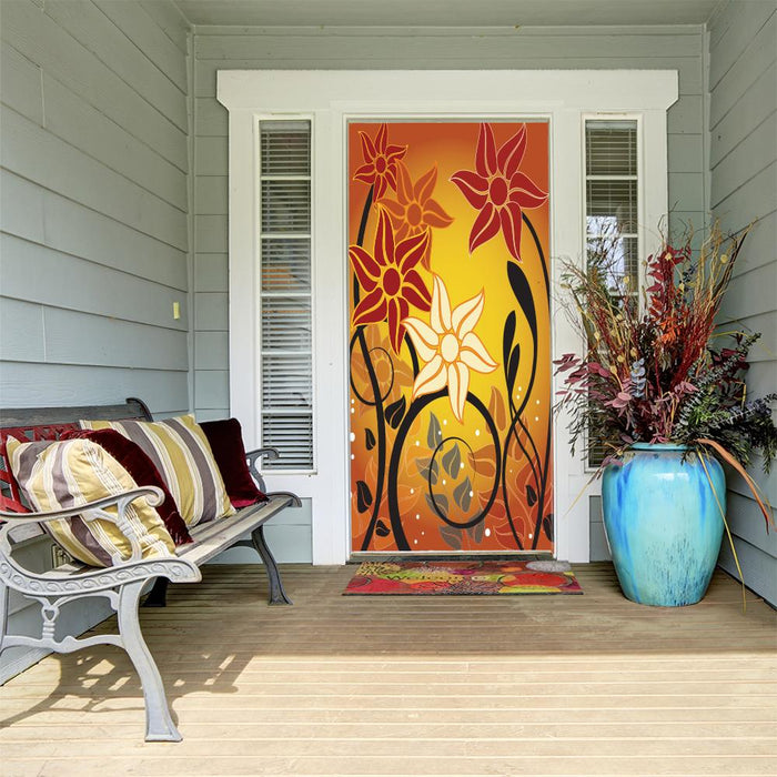Fall Floral Sunset Door Cover