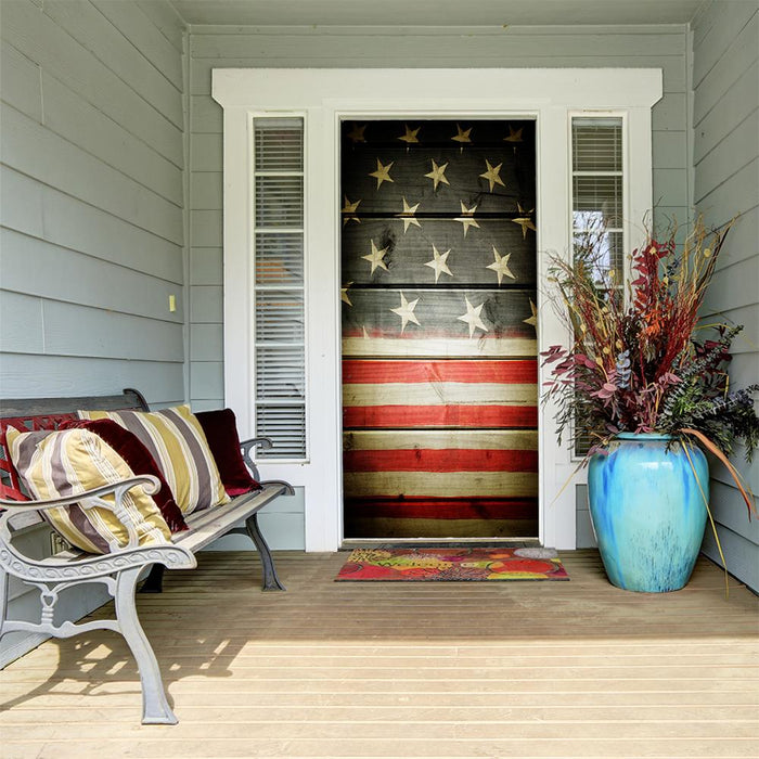 American Flag on Wood Grain