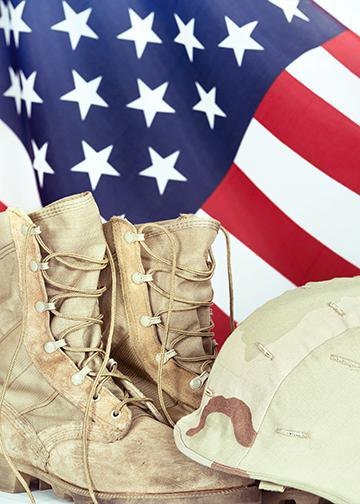 American Flag with Army Boots