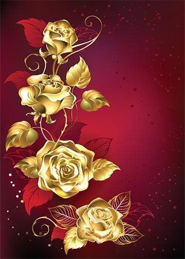 Golden Roses Red Background