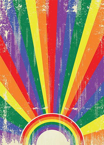 Vintage Gay Pride Rainbow Flag, DoorWrap - Door Decoration
