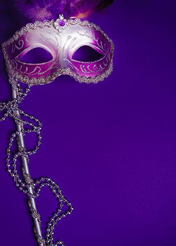 Customizable - Mardi Gras Mask on a Purple Background