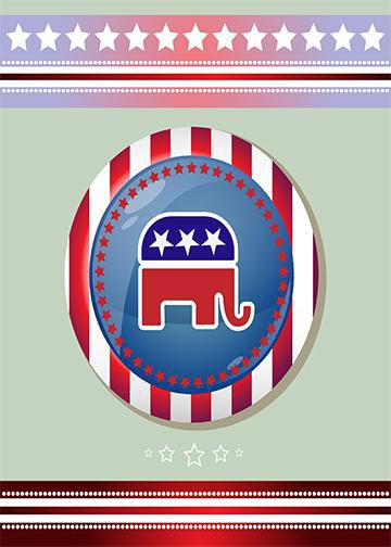 Patriotic Republican Elephant, Door Cover - Door Decoration
