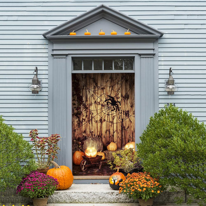Web with Pumpkins Fabric Door Cover
