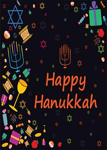 Happy Hanukkah Black Background