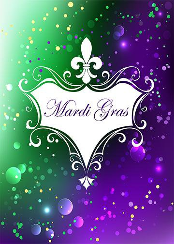 Mardi Gras on Purple Green Background