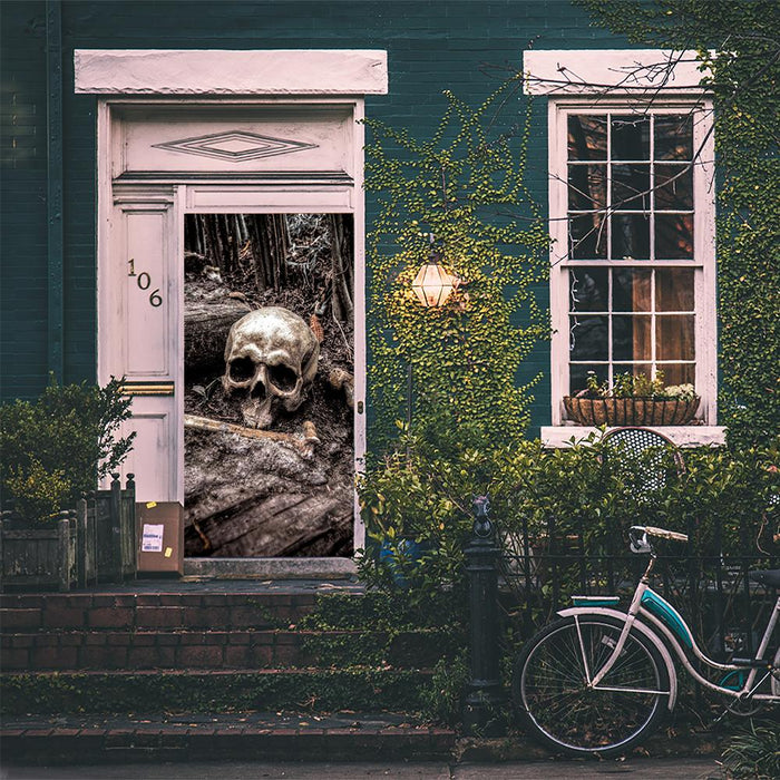 Creepy Skull and Crossbones Door Decoration