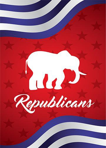 Red, White & Bue Republican Elephant, Door Cover - Door Decoration