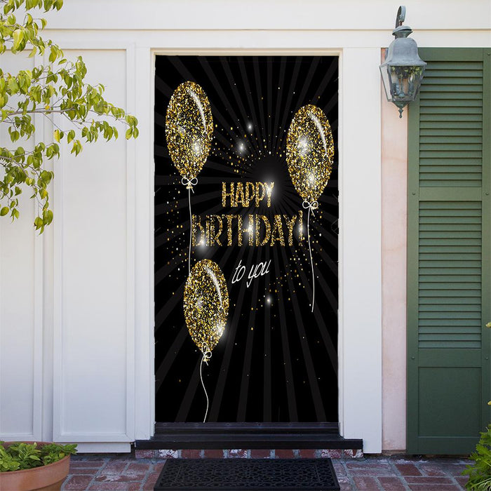 Customizable - Happy Birthday with Gold Balloons