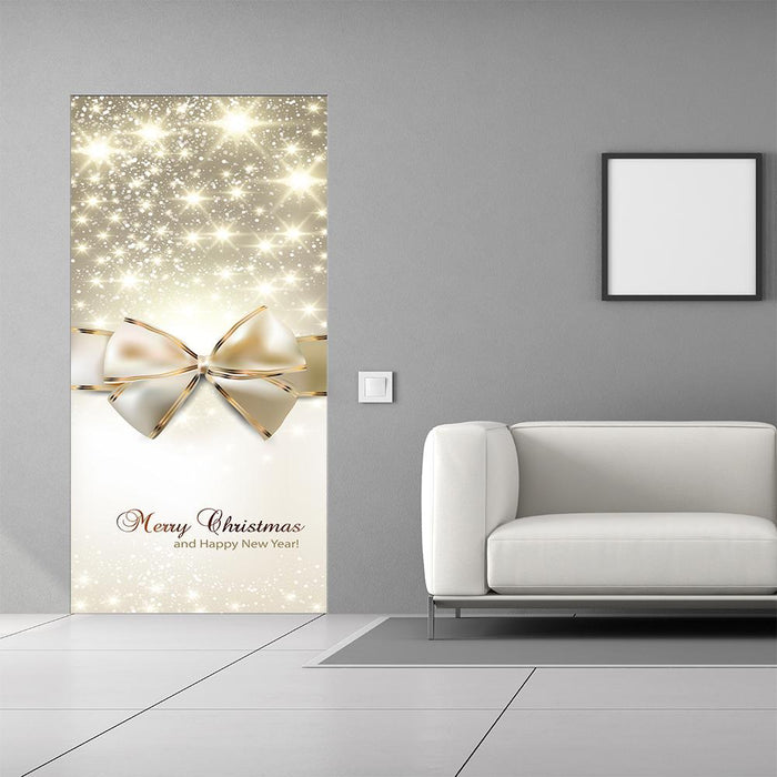 Merry Christmas Golden Bow Door Decor