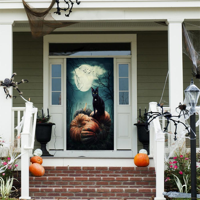 Black Cat on Pumpkins Fabric Door Decoration