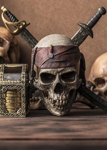 skull and swords pirate decor