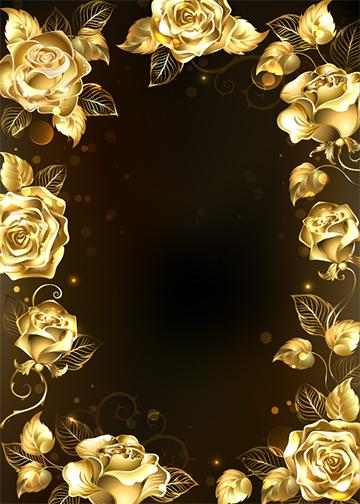 Customizable - Gold Roses Background