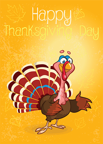 Thanksgiving Turkey Cartoon, DoorWrap - Door Decoration
