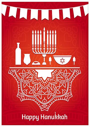 Happy Hanukkah Red Background