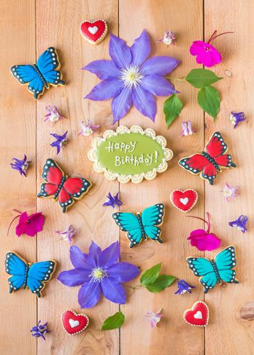 Butterflies and Flowers Birthday