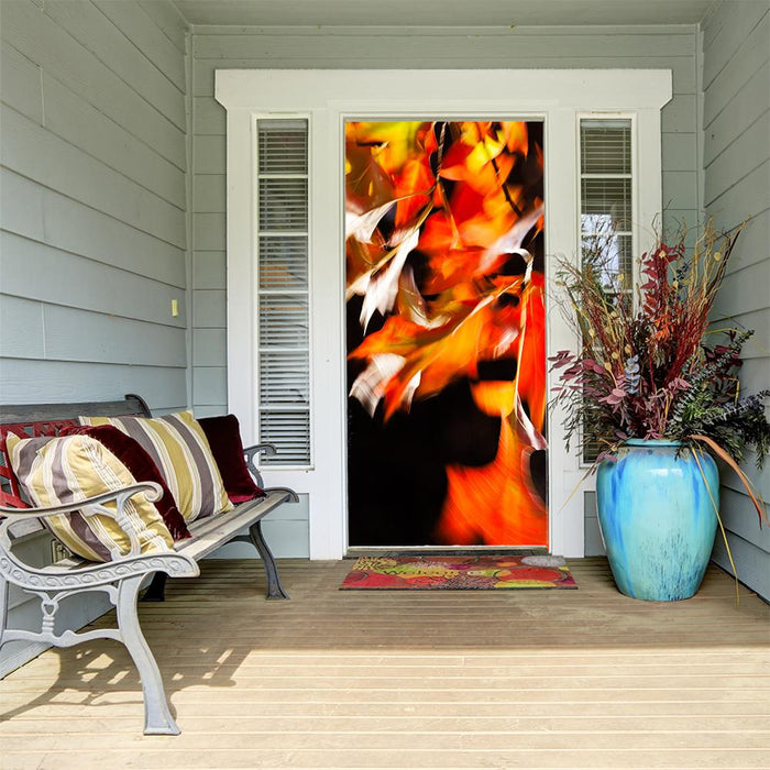 Front Door Fall Decor Colorful Leaves