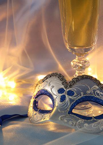 Venetian Mask with Glass of Champagne, DoorWrap - Door Decoration