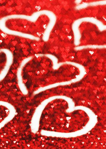 Hearts on Glitter Background