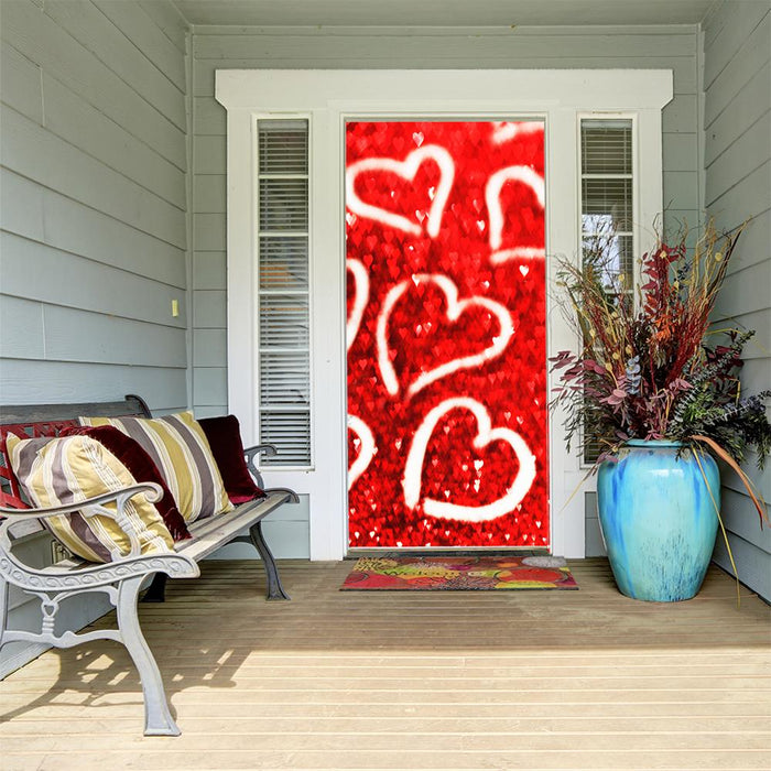 Hearts on Glitter Background Door Cover