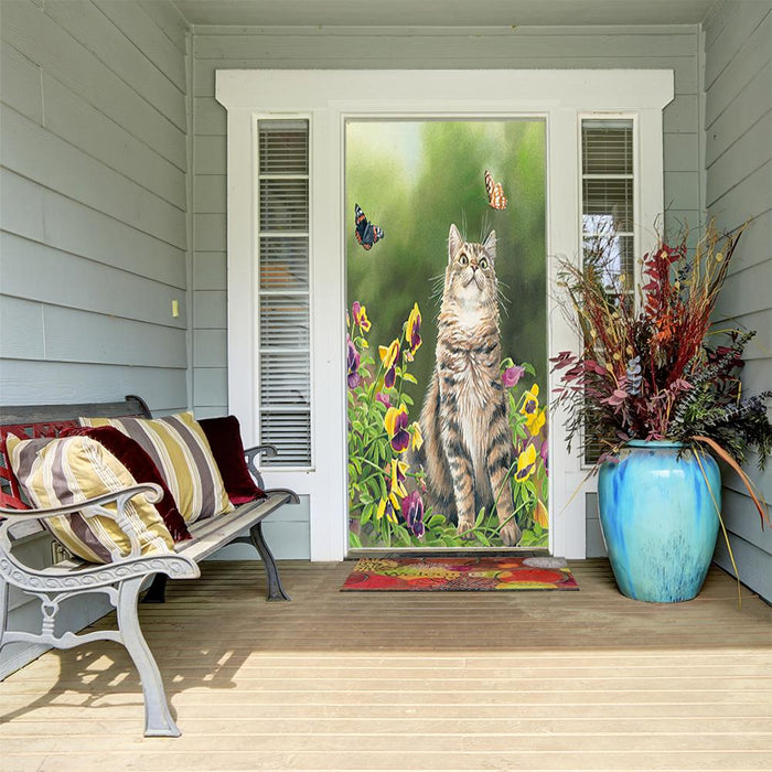 Outdoor Cat Decor Fabric Door Cover