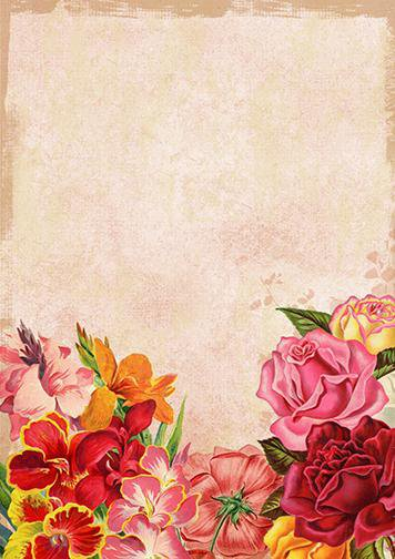 Flower Mural Wall Paper, Door Cover - Door Decoration