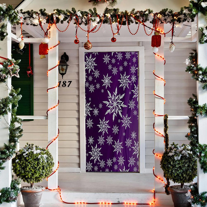 Snowflakes on Purple Drape Background ,Front door decor