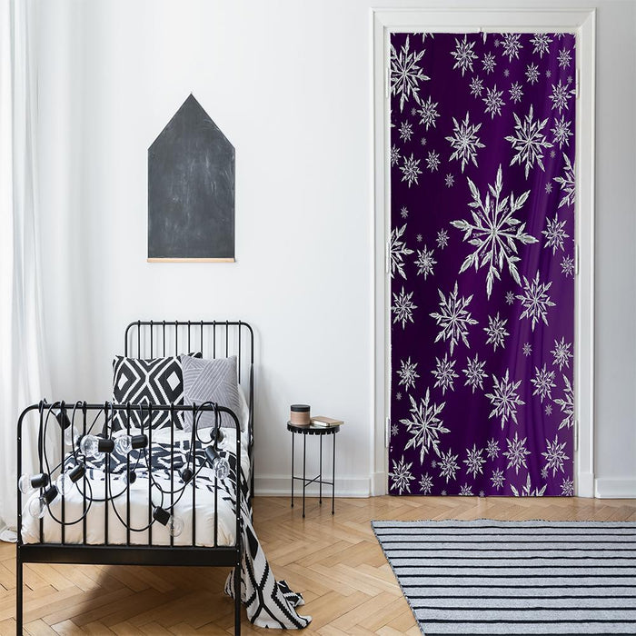 Snowflakes on Purple Drape Background Door Cover