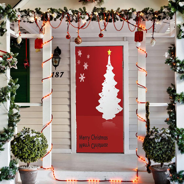 Christmas Tree Door Decoration on Red Background