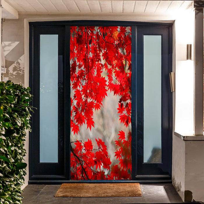 Red Fall Leaves Door Cover