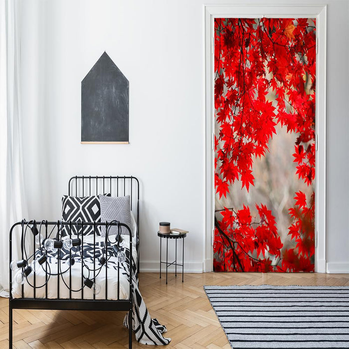 Red Fall Leaves Door Decor