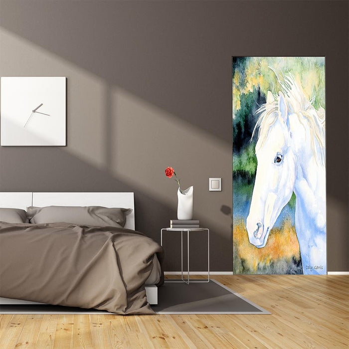 White Horse Artwork Door Cover