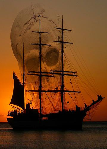 Pirate Ship Skull Sky, Door Cover - Door Decoration